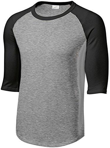 (Joe's USA Mens 3/4 Sleeve 100% Cotton Baseball Tee Shirt,M HeathGrey/Black)