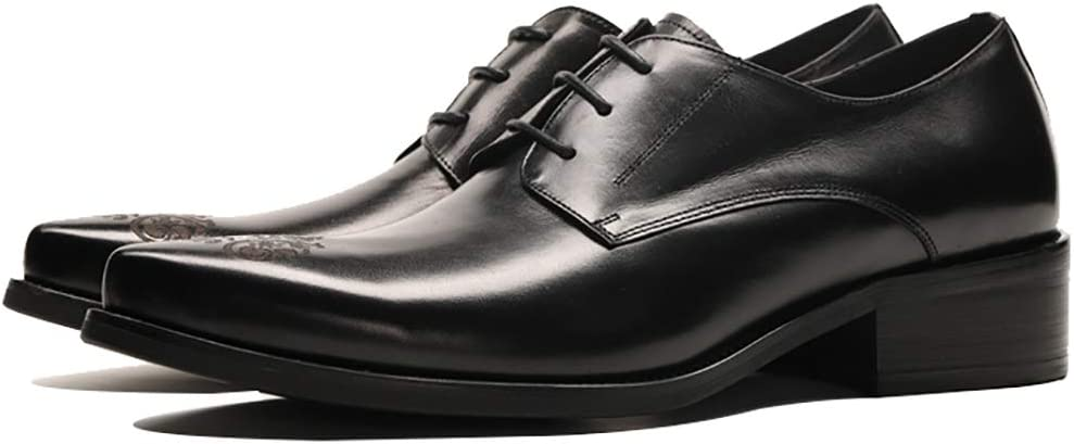 Mens Dress Shoes Leather Formal Business Work Comfort Lace-up Casual Shoes Pointed Hair Stylist Single Shoes