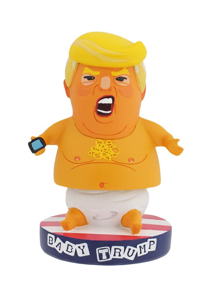 Baby Trump Blimp BobbleHIPS Bobblehead With American Flag Base – Funny Toddler President With Cellphone Statue – Premium Bobblehead Political Figurine For Home Or Office – Great Decoration