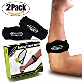 Tennis Elbow Brace Support (2-Pack) with Compression Pad, Best Pain Relief for Tennis & Golfer, Tennis Injury Prevention & Treatment