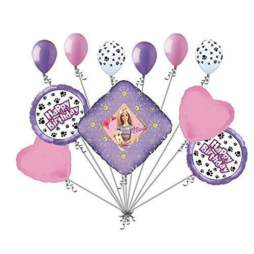 11 pc Barbie with Puppy Paws Happy Birthday Balloon Bouquet Party ()