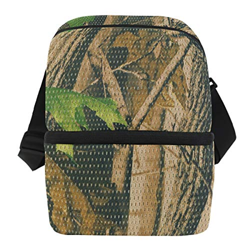 CUTEXL Vintage Forest Camouflage Lunch Box Bag Double-deck Insulated Cooler Adjustable Strap Handle Tote Bag with Zipper Picnic Travel