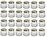 Nakpunar 1.5 oz Mini Oval Hexagon Glass Jars with Gold Plastisol Lined Lids ...