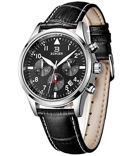 BINGER Mens Date Black Sports Chronograph Watches ...