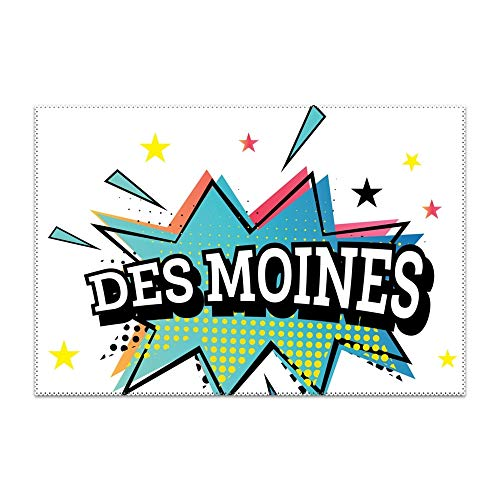 yyoungsell Placemats Washable Easy to Clean Des Moines Comic Placemat for Kitchen Table Heat-resistand Hard Table Mats 12x18 inches Set of 6 -