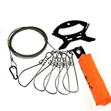 1set 5meter 16inch Fishing Stringer Fish Lock 5 Snap Stainless Steel Ropes Float