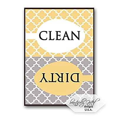 Clean Dirty Dishwasher Magnet Sign for Dishes - Elegant Quatrefoil Moroccan Trellis Modern Pattern - Grey Yellow - 2.5 x 3.5 - Housewarming and Gag Gift Idea / Stocking Stuffers for Men Women & Teens