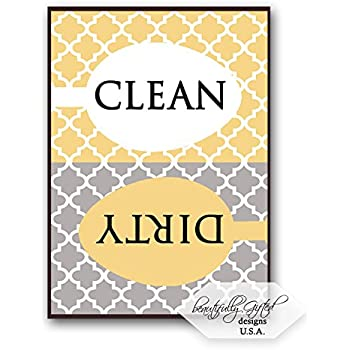 Clean Dirty Dishwasher Magnet Sign - Elegant Moroccan Trellis Pattern - Grey / Yellow Gold- 2.5 x 3.5 - Housewarming, Easter, Mother's Day or Gag Gift Idea / Stocking Stuffers for Men Women Teens