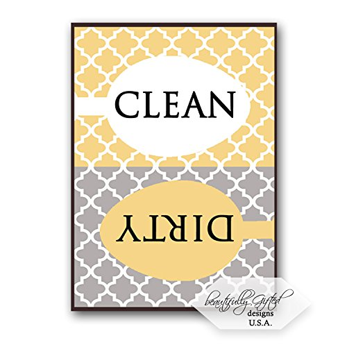 51oWvNkhdHL - Clean Dirty Dishwasher Magnet Sign for Dishes – Elegant Quatrefoil Moroccan Trellis Modern Pattern – Grey Yellow – 2.5 x 3.5 – Housewarming and Gag Gift Idea / Stocking Stuffers for Men Women & Teens