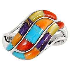 Exotic Southwestern motif ring for everyday wear or that super special occasion. Solid sterling silver (925), genuine Turquoise (blue & purple), Spiny Oyster Shell (red & orange), and Mother of Pearl. Amazing craftsmanship. Trendy but...