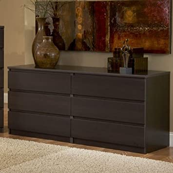 Modern Danish 6 Drawer Long Dresser Brown Espresso Chocolate Wooden Wenge  Bedroom Furniture