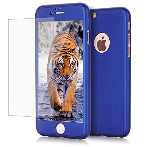 iPhone 6/ 6S case, VPR 2 in 1 Ultra Thin Full Body Protection Hard Premium Luxury Cover [Slim Fit] Shock Absorption Skid-proof PC case for Apple iPhone 6/ 6S(4.7inch) - Navy Rose Blue Gold