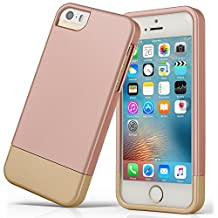 iPhone 5S case, iPhone SE Case, Asstar Slider Case 2-Part two colors Polycarbonate Combination Designed Protective Hard Cover for the Apple iPhone 5 / 5S / SE (ROSE GOLD)
