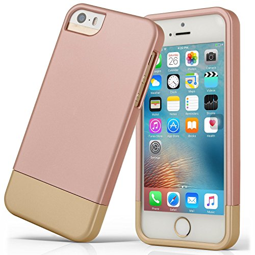 iPhone 5S case, iPhone SE Case, Asstar Slider Case 2-Part two colors Polycarbonate Combination Designed Protective Hard Cover for the Apple iPhone 5 / 5S / SE (ROSE GOLD) (Slim 120mm Fan Blue)