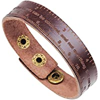 H.ZBRUJ Unique Leather Bracelets for Boys Girls Adjustable Wristband Measuring Tape Cuff Bracelet for Birthday