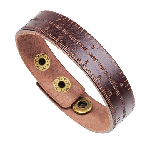 H.ZBRUJ Unique Leather Bracelets for Boys Girls Adjustable Wristband Measuring Tape Cuff Bracelet for Birthday (Brown)