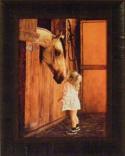 Little Visitor by Lesley Harrison 17x21 Girl Kissing Horse Framed Art Print Wall Décor Picture