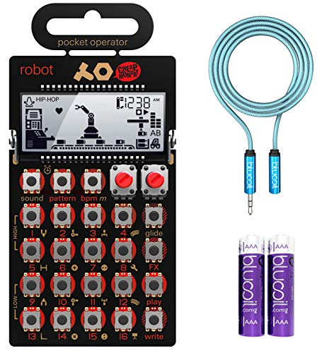 Teenage Engineering PO-28 Robot Pocket Operator, 15 Sounds + Micro Drum & 16 Patterns Synthesizer & Sequencer Bundle with Blucoil 6-FT Headphone Extension Cable (3.5mm) & 2 AAA ()