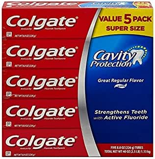 Colgate Cavity Protection Regular Flavor Fluoride Toothpaste 8 Ounce Tube 5 tubes