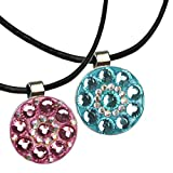 Beautiful Crystal Golf Ball Marker with Magnetic Leather Necklace for Lady
