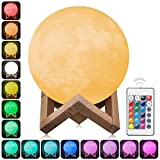 ELITE 3D Moon Lamp Night Light, Remote Control, 16 Color Changes, Optical Illusion LED Lunar Moonlight Globe Ball with Wood Stand Base for Kids Room, Baby Nursery, or Room Decor - Diameter 15CM