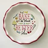 9 Inch Inside Ceramic Pie Plate | Hearts Or Checkered Decorate These Pie Plates | 10.5 inches x 2 inches (''Bake The World Better'')
