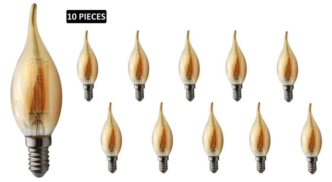 JCKing 10パック AC 110-130V E14 LED 調光機能付き フィラメント ビンテージ フレームチップ 電球 6W LED フレームチップ電球 60W 白熱電球交換用 SES キャンドル電球 シャンデリア用 温白色 6W-W-E14-10 B07MYSFXHG Warm White X 10