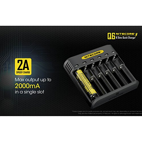 NITECORE Q6 Six Slot 2A Universal Li-ion/IMR Battery Charger for 18650,16340, RCR123A, 14500, 18350 with 2X IMR 3100mAH Rechargeable Batteries and LumenTac Organizer by Nitecore (Image #2)