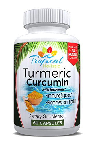 Turmeric Curcumin with BioPerine (Black Pepper) Supplement- 1200mg per Serving, 100% Natural, Non GMO,Anti Inflammatory, Anti-Aging,Makes Joints Feel Better for Women, Men and Seniors by Tropical Holistic