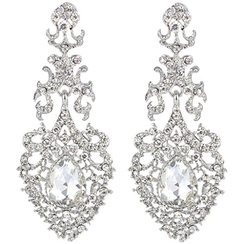 EVER FAITH Austrian Crystal Elegant Lace Hollow-out Tear Drop Chandelier Earrings Clear Silver-Tone ()
