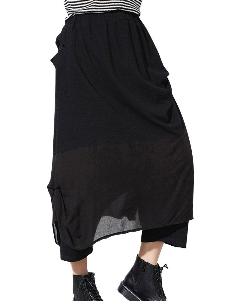 Mujeres Color Puro Casual Cintura Elástica Pants Harem Pantalones Negro