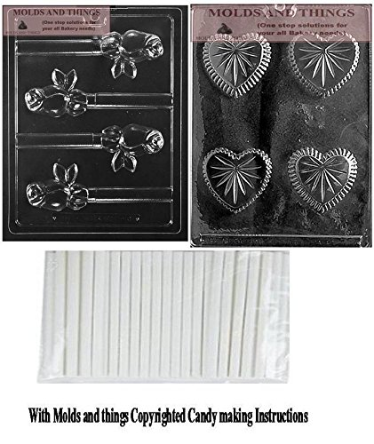 Small Heart Pour Box Chocolate Candy Mold & ROSE PRETZEL POP Chocolate Candy Mold ,Valentine Chocolate Candy Mold with copywrited molding Instructions + 25 sticks