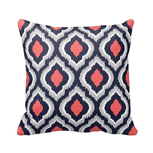 Gray,Coral Pink and Navy Blue Moroccan Pillow Home SofaCustom Pillowcase Soft Zippered Pillow Cushion Case Throw Pillow Covers 18X18 Inch (Navy And Pink Throw Pillows)