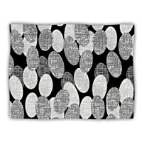 "Kess InHouse Jacqueline Milton ""Seeds Monochrome Black White"" Dog Blanket, 60 by 50-Inch"