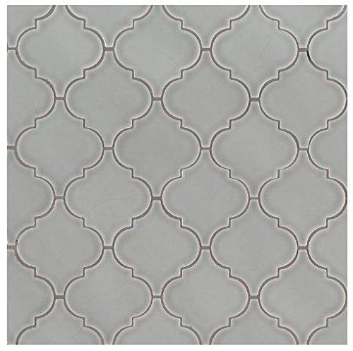 - Morning Fog Arabesque Glazed Porcelain Mesh-Mounted Mosaic 10.5