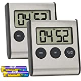 Costech Digital Kitchen Timer 2 Pack, Stainless Steel Shell; Large Digits Display; Loud Alarm; Strong Magnetic Backing Stand (Battery Included) for Kitchen Office Sports Games