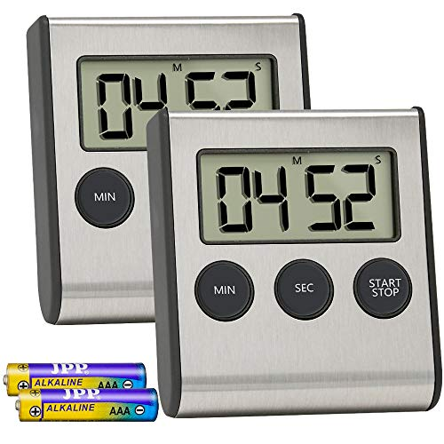 Costech Digital Kitchen Timer 2 Pack, Stainless Steel Shell; Large Digits Display; Loud Alarm; Strong Magnetic Backing Stand (Battery Included) for Kitchen Office Sports Games by CT COSTECH