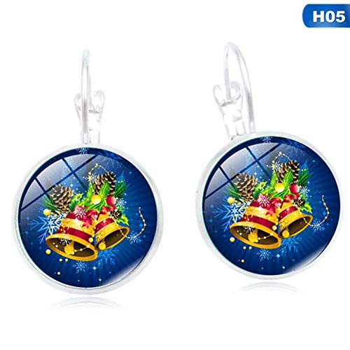 (IUTING Christmas Jewelry with Silver Plated Santa Claus Pattern Glass Cabochon Earring Party Gift)