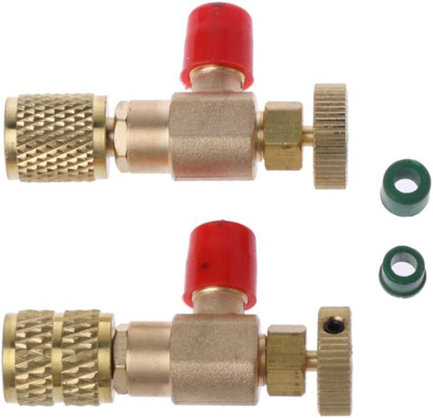 1//4 Safety Adapter Durable Copper Air Conditioning Quick Coupler Connector HONUTIGE 2PCS Safety Valves R410A+R22 Filling Refrigerant Safety Valves