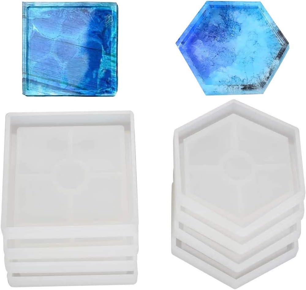 Moldes de silicona 4 cuadrados y  4 hexagono (pack 8)