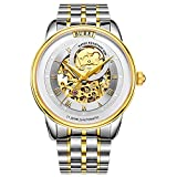 BUREI Men's Automatic Mechanical Watch with See Through Skeleton Gold Tone...
