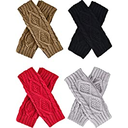 4 Pairs Women's Crochet Fingerless Gloves Knit Arm Warmers Sleeves Rhombus Gloves Thumb Hole Mittens