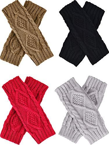 - Tatuo 4 Pairs Women's Crochet Fingerless Gloves Knit Arm Warmers Sleeves Rhombus Gloves Thumb Hole Mittens (black, khaki,light gray,red)
