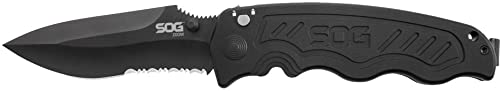 SOG Specialty Knives 257370 Zoom- Partially Serrated, Black TiNi