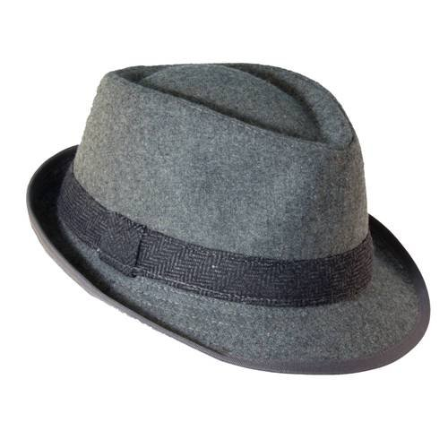 Dorfman Pacific Mens Wool Herringbone Band Classic Fedora Hat (Black, Medium) -