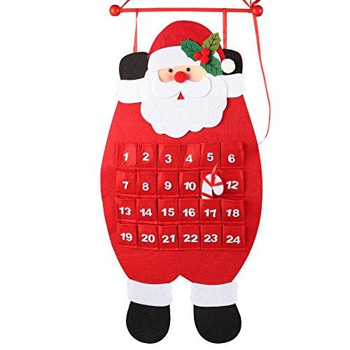 [해외]D-FantiX 3D 산타 펠트 어드밴트 달력 2018 카운트다운 - 크리스마스 달력 실내 크리스마스 장식 레드 및 화이트 / D-FantiX Santa Christmas Advent Calendar 2019, 3D Felt Haning Advent Calendar Reusable Countdown to Christmas Calendar for ...