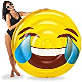 BigMouth Inc Laughing Emoji Pool Float, 5-Foot Wide Pool Tube, Easy to Inflate, Emergency Patch Kit Included