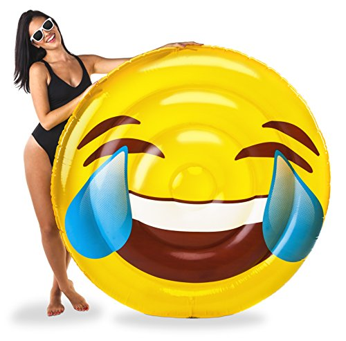 BigMouth Inc Laughing Emoji Pool Float, 5-Foot Wide Pool Tub