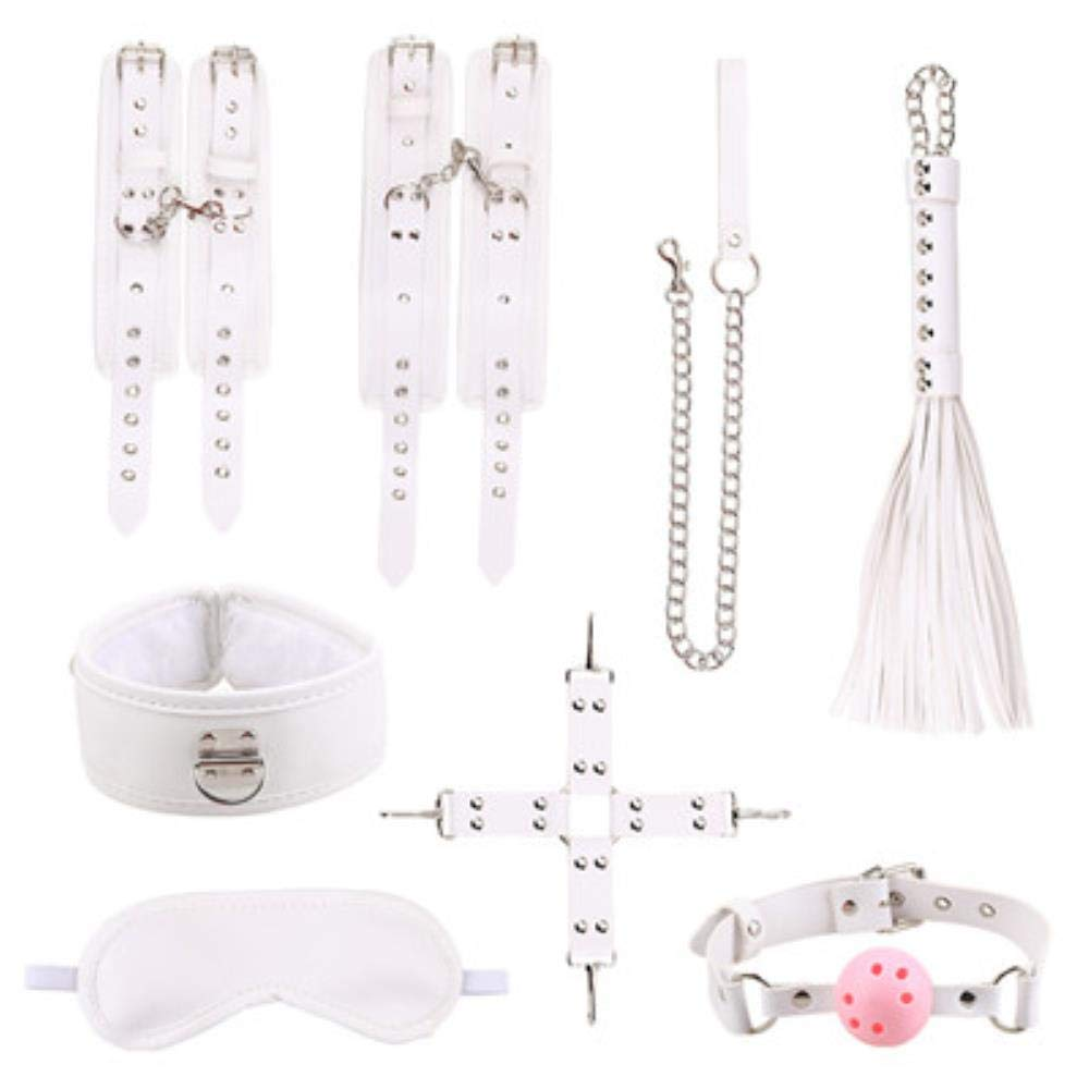 Judita 8 Pcs/Set Sexy Lingerie PU Leather BDSM Sex Bondage Set Hand Cuffs Footcuff Whip Rope Blindfold Erotic Sex Toys for Couples,P774-ZTH