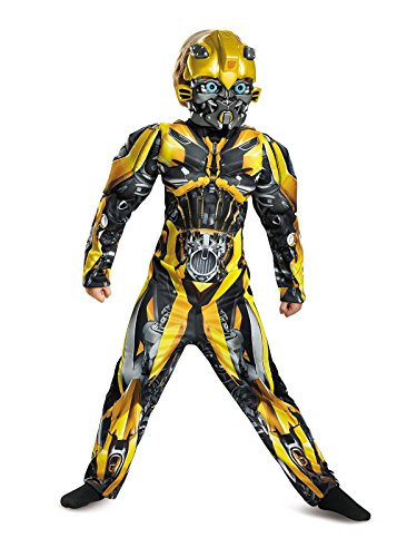Boy Transformer Costume (Disguise Bumblebee Movie Classic Muscle Costume, Yellow, Small (4-6))